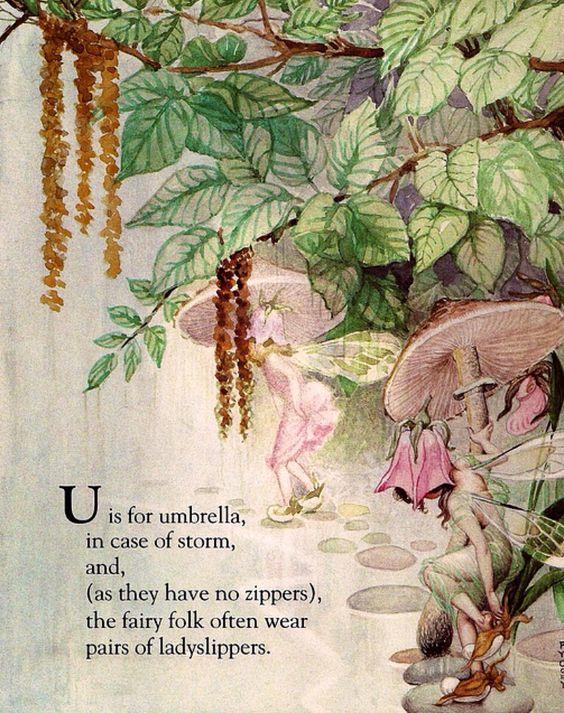 Custom Framed Fairy Lithograph – U is for Umbrella