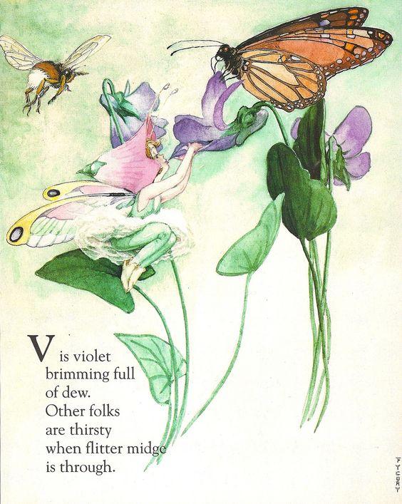 Custom Framed Fairy Lithograph – V is for Violet