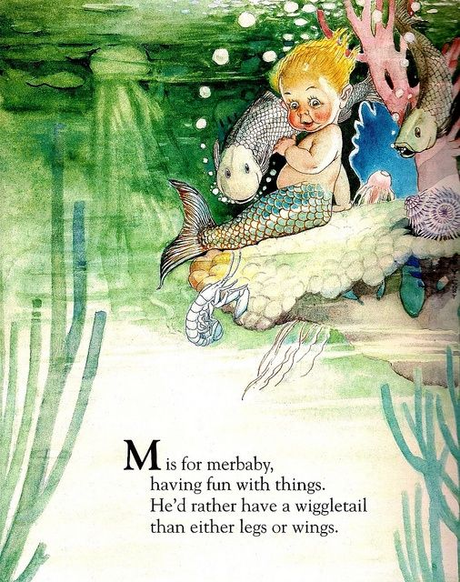 Custom Framed Fairy Lithograph – M is for Merbaby