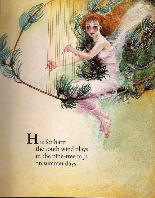Custom Framed Fairy Lithograph – H is for harp
